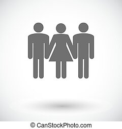 Group sex sign. - Group sex. Single flat icon on white...