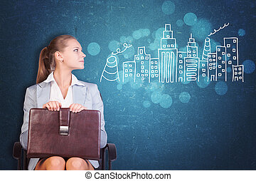Businesswoman with Case next to Drawn City Skyline - Young...
