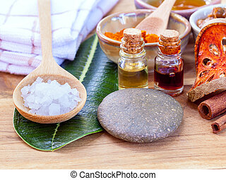 All of thai skin care ingredients. - Macro shot with copy...