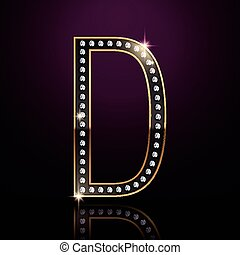 3d elegant diamond letter D