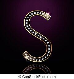3d elegant diamond letter S