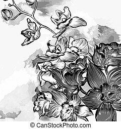 Floral grunge background with orchids in grey watercolor style