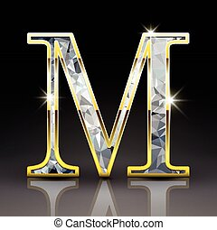 3d gorgeous diamond letter M isolated on black background