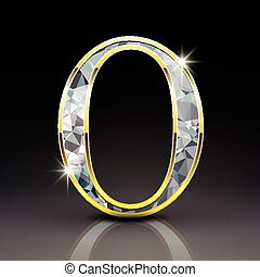 3d gorgeous diamond letter O isolated on black background