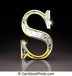 3d gorgeous diamond letter S isolated on black background