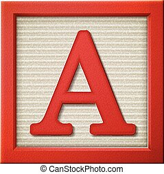 3d red letter block A - close up look at 3d red letter block...