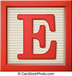 3d red letter block E - close up look at 3d red letter block...