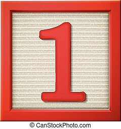 3d red number block 1 - close up look at 3d red number block...