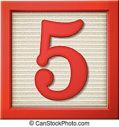 3d red number block 5 - close up look at 3d red number block...