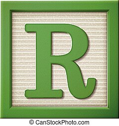 3d green letter block R - close up look at 3d green letter...