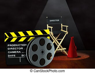Film reel with clapper and chair - Film reel with clapper...