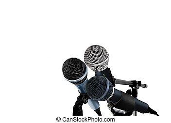 micrófonos, en, blanco,