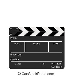Closed Clapboard action - Closed clapboard isolated on a...