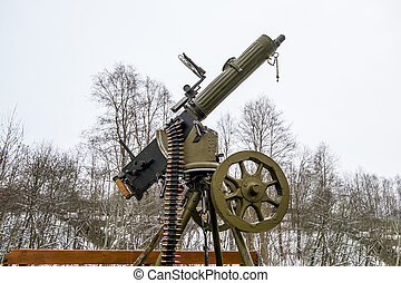 Maxim machine gun aboard a military machine - Maxim machine...