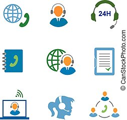 Call center service icons set of contacts mobile phone and communication isolated vector illustration