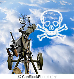Maxim machine gun is pointed in a blue sky with a skull and...
