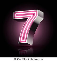 3d pink neon light number 7 isolated on black background