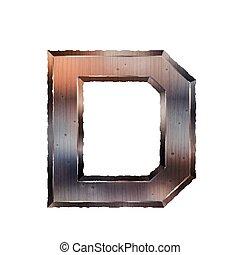 3d old grunge metal letter D