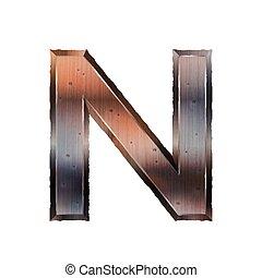 3d old grunge metal letter N