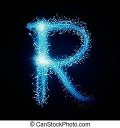 3d blue sparkler firework letter R isolated on black...