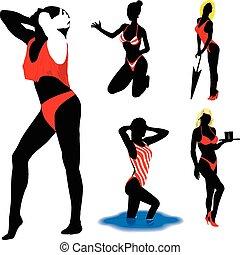 Girl vector silhouettes beach