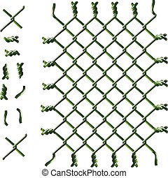Green woven wire fence vector