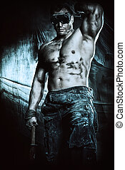 hercules - Portrait of a strong muscular man coal miner...