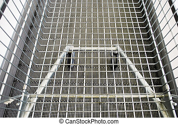 high angle view on a shopping cart on an excalator