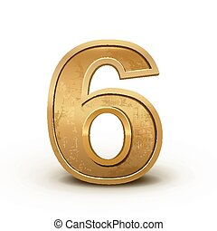3d retro golden number 6 isolated on white background
