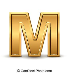 3d bright golden letter M isolated on white background