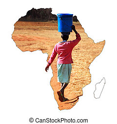 A young African girl carrying a bucket of water on her head...
