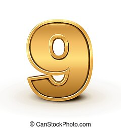 3d bright golden number 9 isolated on white background
