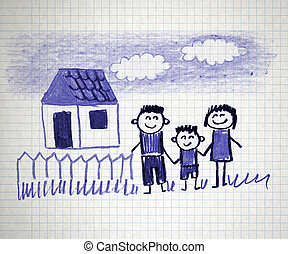 Happy family - Happy parents and children naive kids drawing
