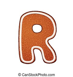 3d lovely gingerbread cookie alphabet R isolated on white...