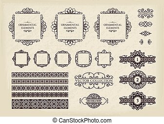 Calligraphic design elements Vector set of vintage page...