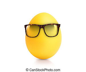 yellow egg isolated on white in glasses