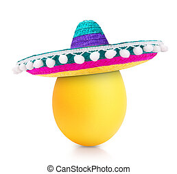 yellow egg isolated on white in sombrero