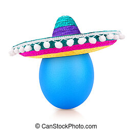 blue egg isolated on white in sombrero