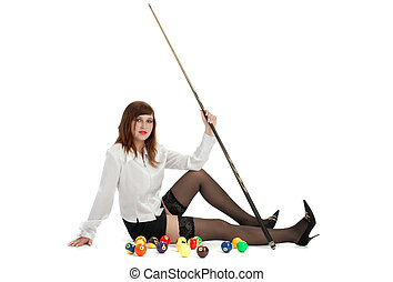 girl with cue and billiard-balls - billiard-girl with...