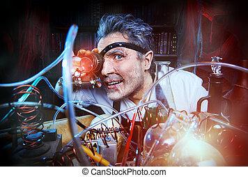 witchcraft - Portrait of a crazy medieval scientist working...