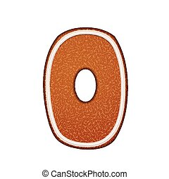 3d lovely gingerbread cookie number 0 isolated on white...