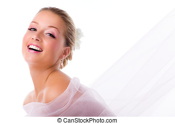 Beautiful Bride - Happy bride with veil floating on the air....