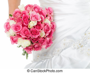 Bridal Bouquet - Bridal bouquet and detail of wedding dress.