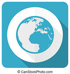 earth blue flat icon world sign