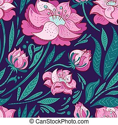 Purple Vector Background with Pink Flowers