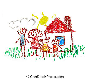 Happy family - Happy parents and children Naive kids drawing...