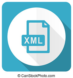 xml file blue flat icon