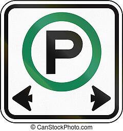 Parking Permitted In Canada - Canadian road sign: Parking...