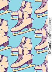 Sketch skating shoes in vintage style, vector seamless...
