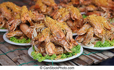 Seafood - Thai food, mantis shrimp fried with garlic and...